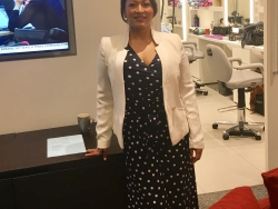 Dr Daisy in Sky News hair and make-up before going on live TV to discuss NHS Funding